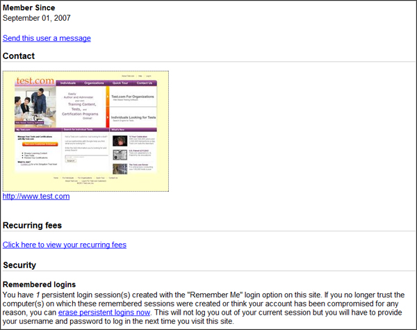 Member Profile View Account Info